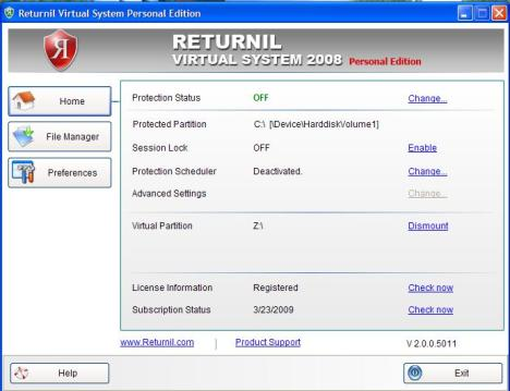 Returnil Systems Personal Edition