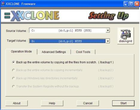 XXCLone Main Window