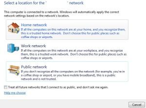 Windows 7 membagi pemanfaatan jaringan menjadi 3 skema utama