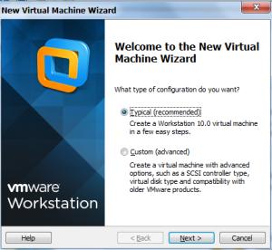 Buat VM baru. Pilih Typical lalu NEXT