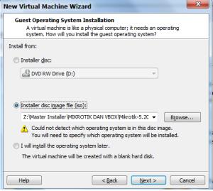Pilih Installer disc image (iso), browse ke file .ISO RouterOS, lalu NEXT