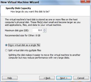 Tentukan besar kapasitas HDD untuk VM. Pilih Store virtual disk as a single file, lalu NEXT